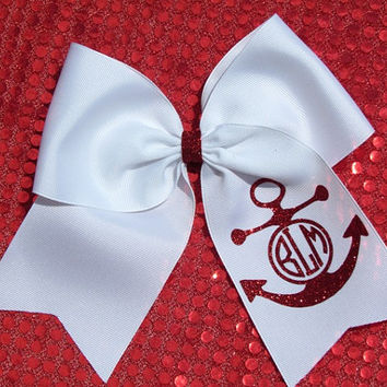Custom Anchor Cheer Glitter Hair Bow