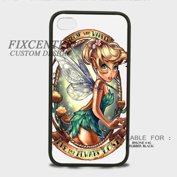 Disney Tinkerbell Are Not Always Lost Tatto Rubber Cases for iPhone 4,4S, iPhone 5,5S, iPhone 5C, iPhone 6, iPhone 6 Plus, Samsung Galaxy S3, Samsung Galaxy S4, Samsung Galaxy S5  phone case design