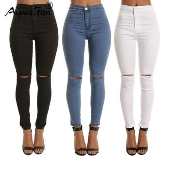 2018 Autumn White Hole Skinny Ripped Jeans Women Jeggings Cool Denim High Waist Pants Capris Female Skinny Black Casual Jeans