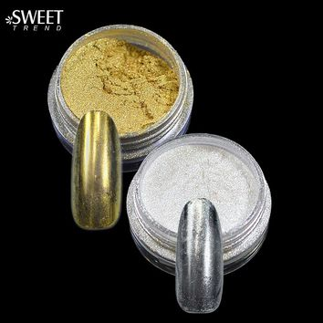 Fashion 1g Shining Magic Mirror Nail Glitter Powder + Brush Gorgeous Nail Chrome Pigment Glitter Mirror Nail Glitter LA#02 #04