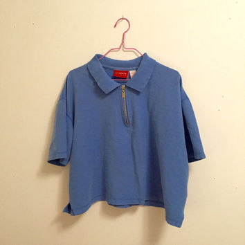 90s Powder Blue Zip Up Cropped Polo
