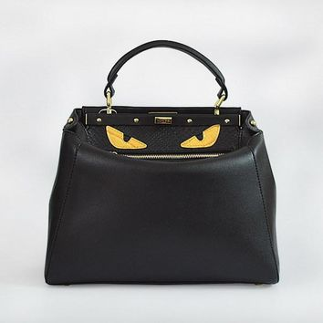 fendi women s fashion black classic leather shoulder tote handbag bag