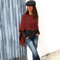 Knit sweater poncho, red wool poncho, knitted red wrap, hand knit poncho, alpaca poncho, bulky wrap, knitwear trend,