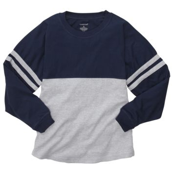 Navy and Oxford Pom Pom Jersey