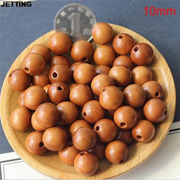 JETTING 50Pcs Round Wood Spacer Bead Natural Wooden Ball Beads DIY Craft Jewelry