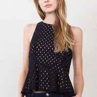 Sugarlips Silvana Black Sleeveless Lace Peplum Top