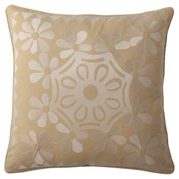 "Mudhut™ Amani Embroidered Suzani Decorative Pillow - Gold (20x20"")"