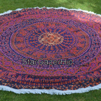RoundieTapestry Indian Floral Mandala Tapestry Bed Sheet Bohemian Wall Hanging Hippie Round Throw