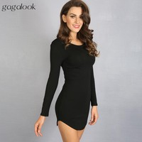 Winter Women Dress Little Black White Short Party Robe Sexy Long Sleeve Cotton Casual