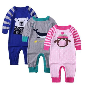 High Quality Baby Rompers Winter Cotton knitting baby Boys Girls Warm Clothes Kid Jumpsuit Children Outerwear Baby Wear