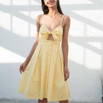 Hollow Out Bow Knot Backless Midi Dress