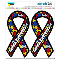 Autism Awareness Support Ribbon MAG-NEATO'S TM Car-Refrigerator Magnet Set