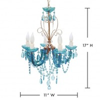Wake Up Frankie - 5 Light Turquoise Chandelier : Teen Bedding, Pink Bedding, Dorm Bedding, Teen Comforters