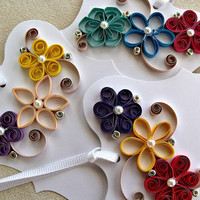 handmade paper quilled gift tags – set of  three tags