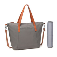 BayB Brand Gray Diaper Tote Bag with Tan Trim
