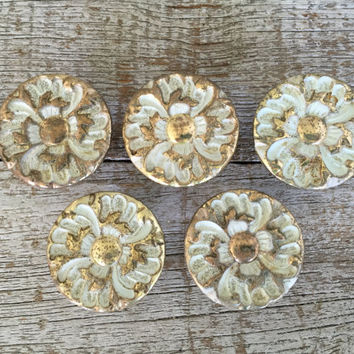 Drawer Knobs 5 Drawer Pulls Brass Knobs Cottage Chic Hardware Antique Hardware Dresser Pulls Cabinet Knobs Decorative Knobs Mid Century