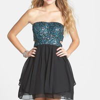 Junior Women's Hailey Logan Sequin Cutout Bodice Strapless Skater