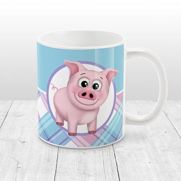 Pig Plaid Pattern Mug - Pink Blue Purple Plaid Pattern cute Happy Pig - 11oz or 15oz Pig Mug - Made to Order