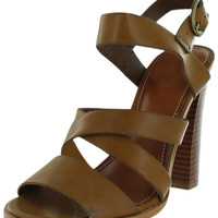 Mia Taylor Stacked Heel Wooden Sandals Shoes Faux Leather