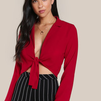 Knot Front Plunging Crop BlouseFor Women-romwe