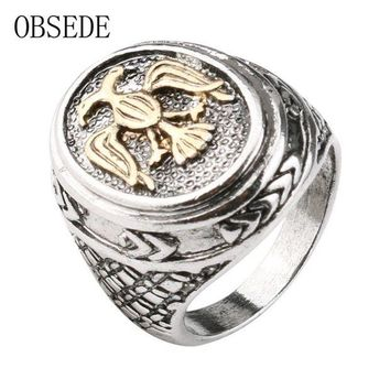 ac spbest OBSEDE New Punk Gold Bird Ring Vintage Military Ring Silver Color Alloy Jewelry Gothic Cool Signet Wedding Party Gift