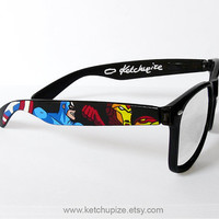 The Avengers Wayfarer glasses comic unique hand painted - Captain America - Thor - Hulk - Iron Man