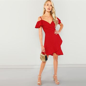 Boho Red Cold Shoulder Surplice Wrap Ruffle Hem Slim Midi Dress Spaghetti Strap A Line Sheath Dresses