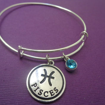 Zodiac Jewelry ~ Pisces Bracelet , Aquamarine Birthstone Jewelry , Pisces Birthday gift , March Birthday Gift , Alex and Ani Inspired bangle