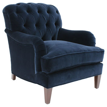 Barclay Butera, Somerset Tufted Velvet Club Chair, Navy, Club Chairs