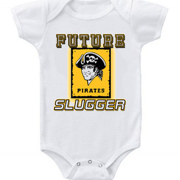 New Cute Funny Baby One Piece Bodysuit Baseball Future Slugger MLB Pittsburgh Pirates