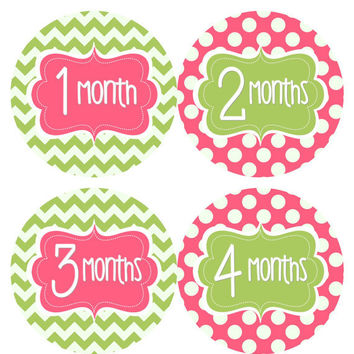 Baby Month Stickers Baby Girl Monthly Onesuit Stickers Hot Pink Green Chevron Monthly Onesuit Sticker Girl Baby Shower Gift Photo Prop -Aubrey