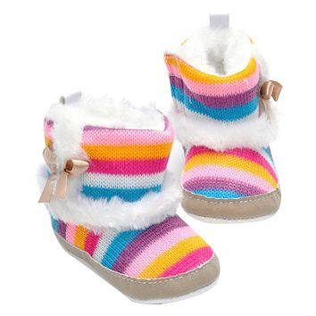 Baby Shoes Boots Winter Newborn Girl Baby Infant Toddler Princess Snow Knitting Boots Shoes