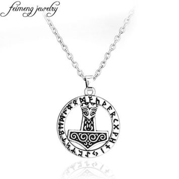 Supernatural Thor's Hammer Mjolnir Norse Thor Necklace Punk Viking Pendant Necklaces Silvery For Women Men Wicca Fashion Collar