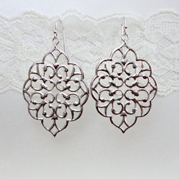 Simple silver filigree earrings, Wedding jewelry, Bridesmaid earrings, Prom earrings