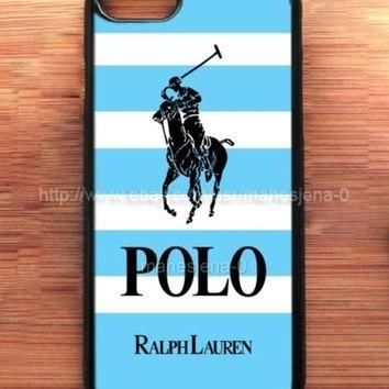 Polo Ralph Lauren Blue Mean Striped For iPhone 7 7+ Print On Hard Plastic Case