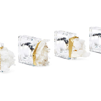 Napkin Rings w/ Himalayan Crystal, Set of 4, Napkin Rings & Holders