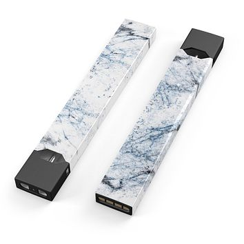 Skin Decal Kit for the Pax JUUL - Blue and Black Grunge Over White Marble Surface