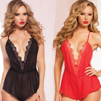 Sexy Cute On Sale Hot Deal Backless Dress Ladies Spaghetti Strap Sleepwear Exotic Lingerie [6595497411]