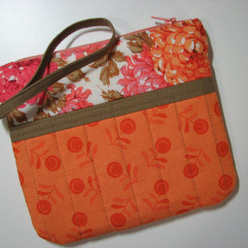 Quilted Zippered Clutch--Orange/Pink/Tan Floral, Wrist Strap