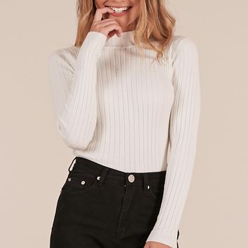 Downtown Dreams Knit top in Cream Produced By SHOWPO
