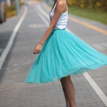 Tulle Skirt Tea length Tutu Skirt Knee length tulle tutu Princess Skirt Wedding Skirt in lake blue - NC455