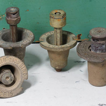 4 Vintage Brass Popup Sprinkler Heads Rain Bird Space 15, Orbit Spray, Moody L.A . Lawn Sprinklers . Made in U.S.A.