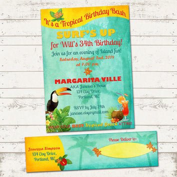 Tropical Island Birthday Invitation - with Address Labels - Retro Beach, Hawaiian, Island themes - Exotic Birds - Great for Adults and Kids