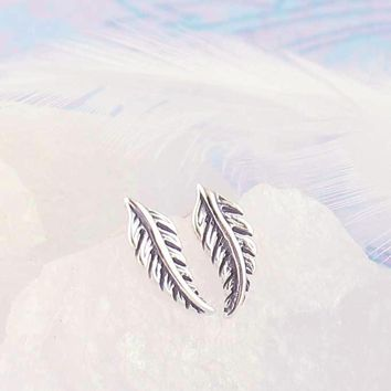 Tiny Curved Feather Earrings