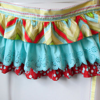 Fabulous Frilly Half Apron with Lots of Ruffles Aqua Red Chartreuse Chevron