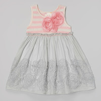 Gray & Pink Rosette Babydoll Dress - Toddler & Girls | something special every day