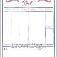 Sigma Kappa Hand Lettered Schedule Pad