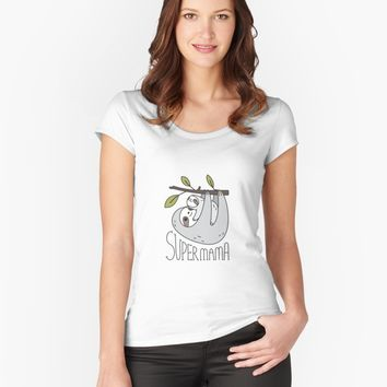 """Super Mama Mom and Baby Sloth"" Women's Relaxed Fit T-Shirt by Miri-Noristudio 