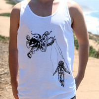 Octopus Kraken w/ Deep Sea Diver Marionette // Nautical Under Water Silkscreen Print // Men's Tank Top