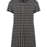Black Grid Check Short Sleeve Lightweight Tunic Dress